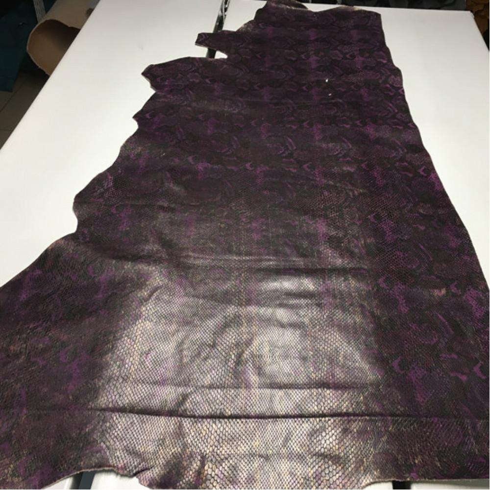 Кожа КРС, тиснёная под питона, тёмно-фиолетовый, ИТАЛИЯ
