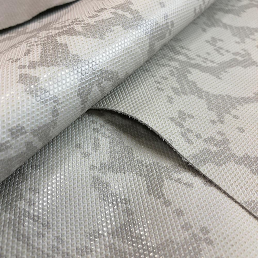 Кожа КРС с тиснением под рептилию, 0.8-1.0 мм, цвет серо-белый, Италия