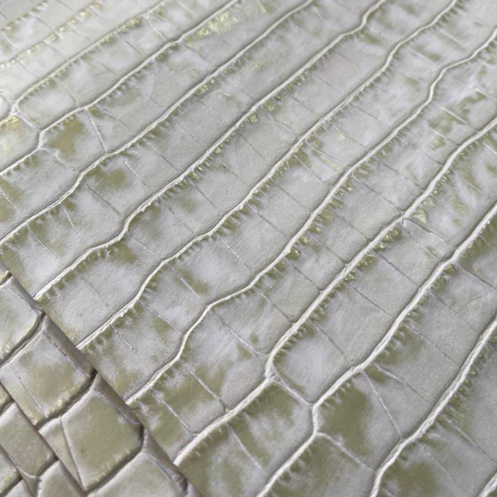 Кожа КРС с тиснением под крокодила, 1.0-1.2 мм, цвет салатовый металлик, Италия