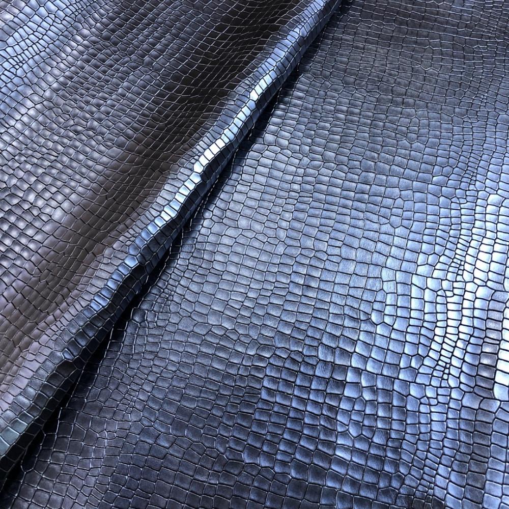 Кожа КРС с тиснением под крокодила, 1.4-1.6 мм, цвет синий, Италия