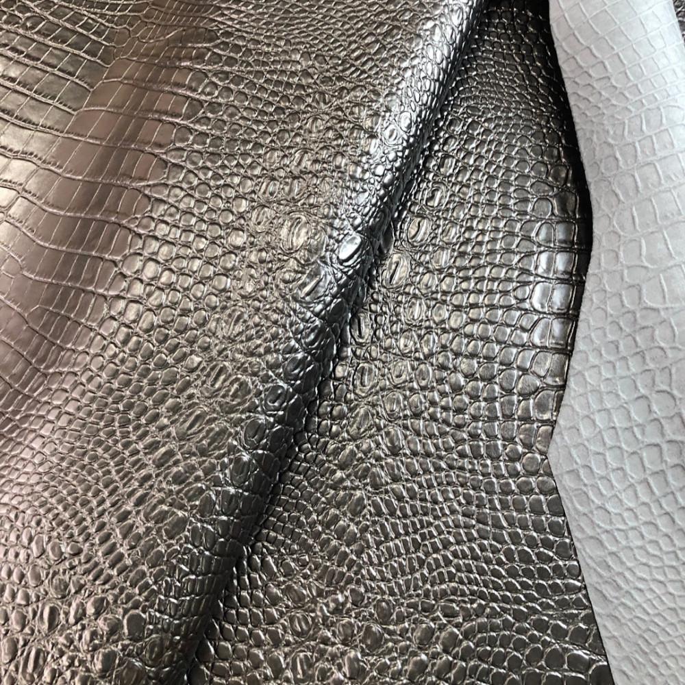 Кожа КРС с тиснением под крокодила, 1.0-1.2 мм, цвет черный, Италия