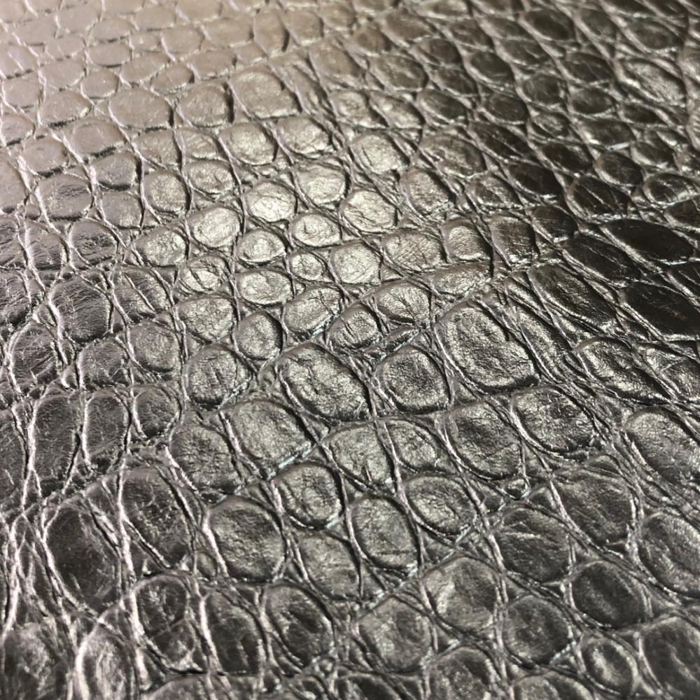Кожа КРС с тиснением под крокодила, 0.8-1.0 мм, цвет черный, Италия
